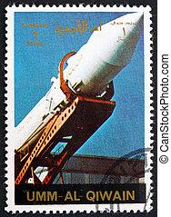affranchissement, fusée, timbre, 1972, al-quwain, erigé, être, umm, soviétique
