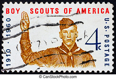 affranchissement, garçon, usa, timbre, 1960, signe, donner, scout