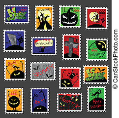 affranchissement, grand, timbres, ensemble, halloween