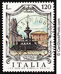 affranchissement, grand, viterbo, italie, 1979, timbre, fontaine