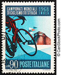 affranchissement, italie, sforza, château, timbre, vélo, 1968, spectacles, imola