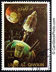 affranchissement, jettisons, fusée, timbre, 1972, al-quwain, épuisé, umm, étapes