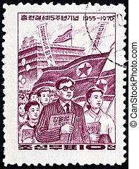 affranchissement, koreans, corée, nord, timbre, 1970, japon, association