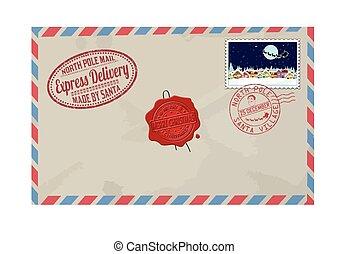 affranchissement, lettre, claus, timbres, santa, marques