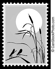 affranchissement, libellule, silhouette, illustration, vecteur, timbres