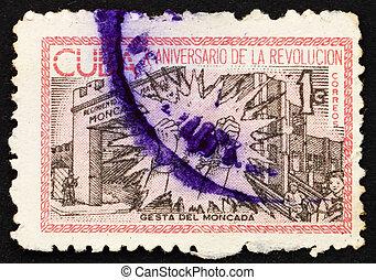affranchissement, moncada, cuba, timbre, 1963, cassé, chaînes