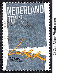 affranchissement, pays-bas, 1983, timbre, symbolique, séparation, église