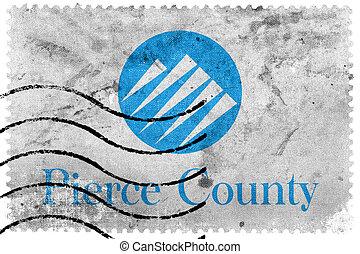 affranchissement, percer, vieux, usa, timbre, comté, drapeau, washington