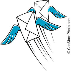 affranchissement, poste aérienne, icône