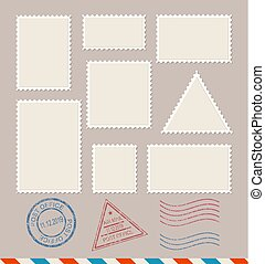 affranchissement, set., timbres, vecteur, gabarit, vide, vide