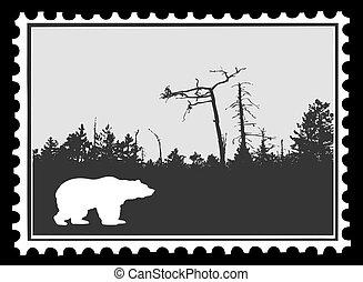affranchissement, silhouette, illustration, vecteur, ours, timbres