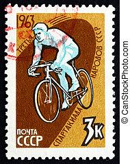 affranchissement, spartacist, 3ème, timbre, cycliste, 1963, jeux, russie
