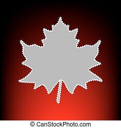 affranchissement, style, feuille, timbre, photo, signe., gradient, arrière-plan., vieux, red-black, ou, érable