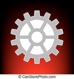 affranchissement, style, vieux, engrenage, timbre, photo, signe., gradient, arrière-plan., red-black, ou