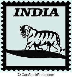 affranchissement, tigre, inde, timbre