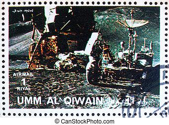affranchissement, timbre,  1972,  al-quwain, lune, astronaute,  umm