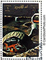 affranchissement, timbre,  base,  1972,  al-quwain, lune,  umm, artiste,  s,  vision