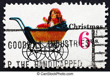 affranchissement, usa, poupée, timbre, voiture, 1970, noël