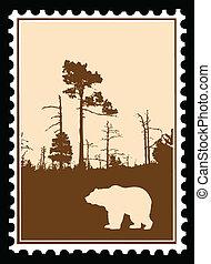 affranchissement, vecteur, silhouette, ours, timbres, bois