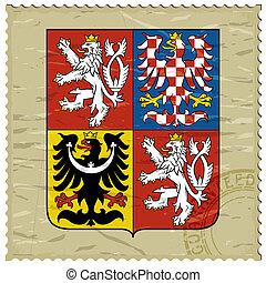 affranchissement, vieux, tchèque, manteau, bras, timbre,...