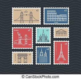affranchissement, ville, ensemble, national, timbres, vecteur, voyager, ligne, repères