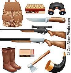 affronter, aborder, équipement, ensemble, chasse, icônes