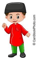 afganistán, camisa, rojo, niño