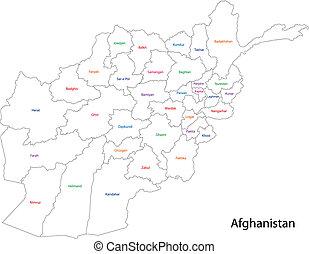afganistán, mapa