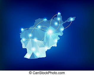 afganistán, país, mapa, polygonal, con, luces del punto, lugares