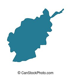 Afganistan map vector illustration isolated on white. Afganistan blue shape contour.