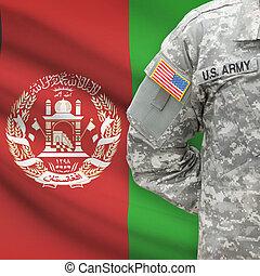 afganisztán, -, amerikai, katona, lobogó, háttér