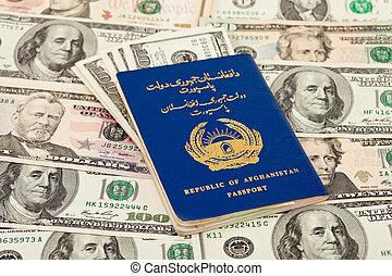 afgano, pasaporte, en, nosotros dólares, plano de fondo