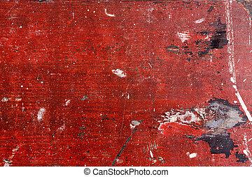 afgebroken, grunge, stijl, achtergrond., hout, paint., rood