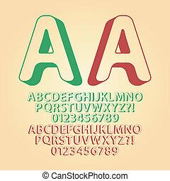 afgerond, omhoog, isometric, alfabet, en, cijfer, vector