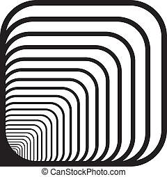 afgerond, tunnel, hoeken, hand, dons, perspectief, achtergrond, voorkant, links
