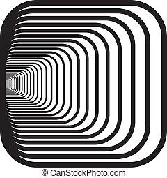 afgerond, tunnel, hoeken, hand, perspectief, achtergrond, links