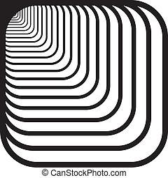 afgerond, tunnel, hoeken, op, hand, perspectief, achtergrond, voorkant, links