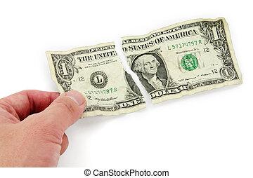 afgescheurde, dollar, usa