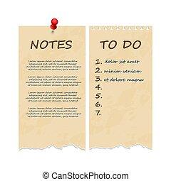 afgescheurde, grunge, ouderwetse , opmerkingen, lijst, aantekenboekje, pagina's
