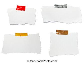 afgescheurde, merk papier op, achtergrond, boodschap, witte