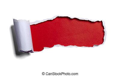 afgescheurde, opening, papier, zwarte achtergrond, wit rood
