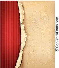 afgescheurde, oud, ouderwetse , paper., vector, achtergrond