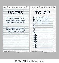 afgescheurde, ouderwetse , opmerkingen, lijst, papier, pagina's