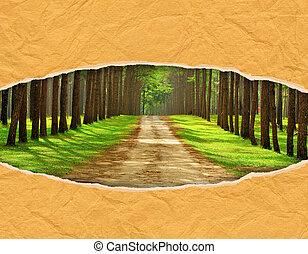 afgescheurde, papercraft, dennenboom, bladen, ovaal, gat, ...