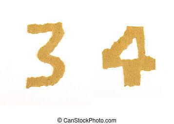 """afgescheurde, papier, getal, """"3"""", """"4"""""""