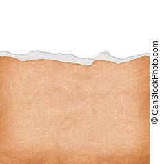 afgescheurde, papier, met, kosteloos, ruimte, voor, tekst