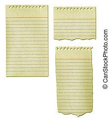 afgescheurde, papier, verzameling, oud, notepad