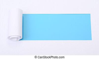 afgescheurde, witte , papier, met, ruimte, voor, tekst
