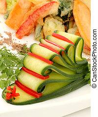 afgesnijdenene, capsicum, komkommer
