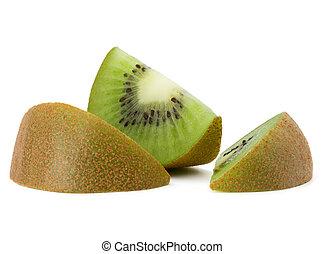 afgesnijdenene, kiwi fruit, vrijstaand, op wit, achtergrond, cutout